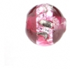Glass Lamp Bead Round 8mm Silver/Ruby